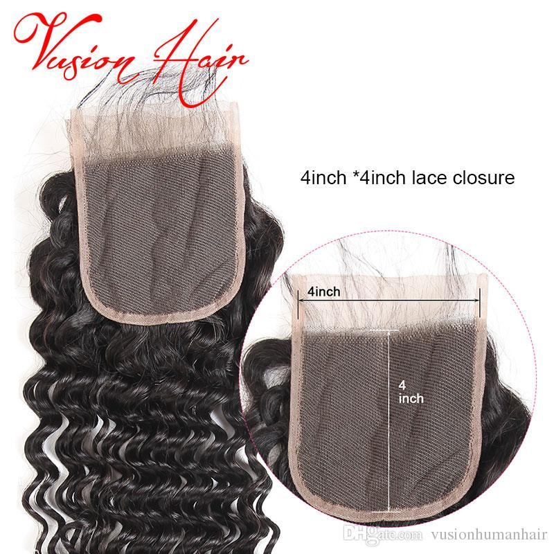 Remy brasileño de la onda profunda Remy 4 paquetes con el cierre del cordón Pelo al por mayor sin procesar barato brasileño del pelo empaqueta el color natural