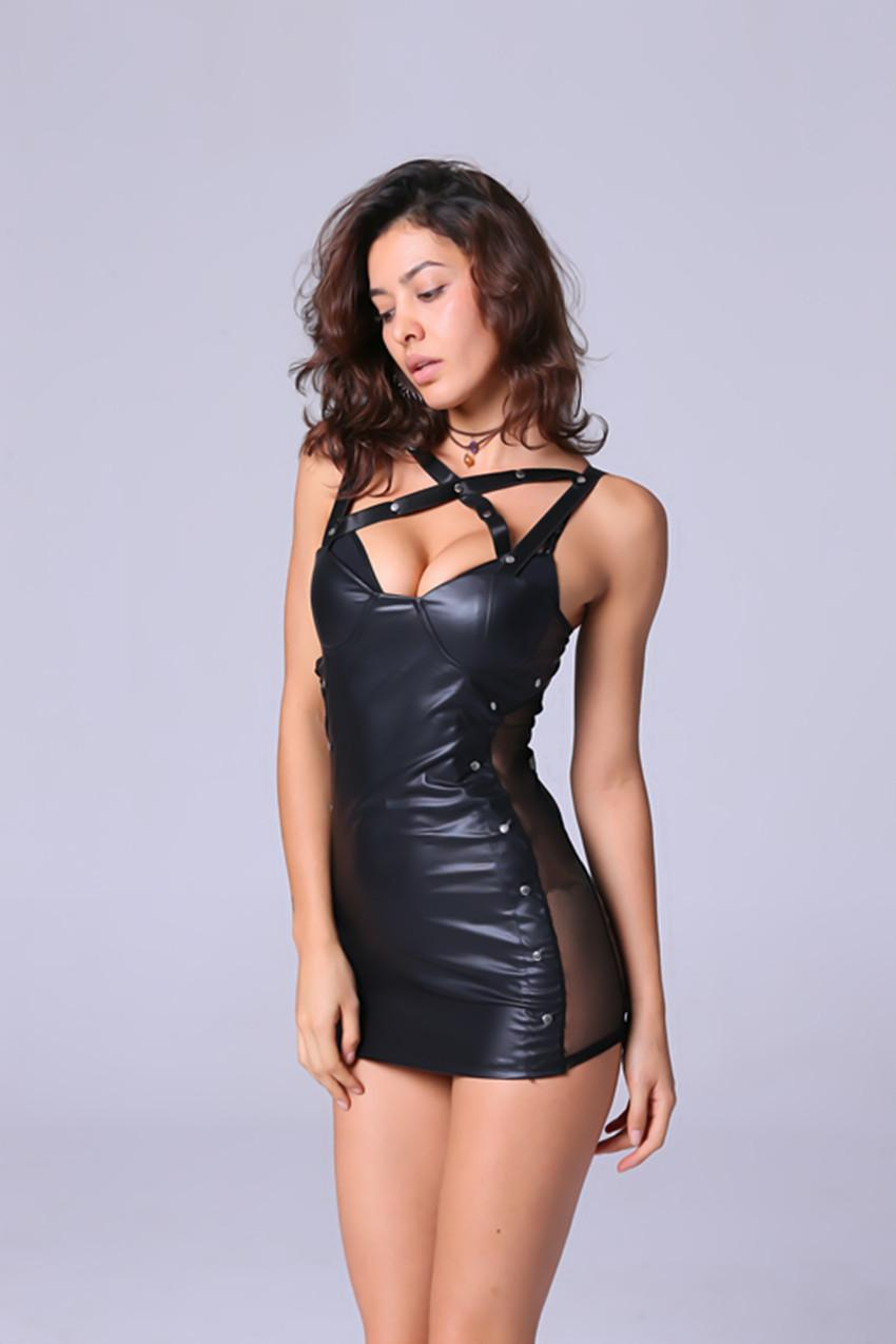 XXXL femmes Hot Sexy Stripper Cuir Lingerie Noir Latex Rivet Costume Catsuit Érotique Robe Sex Costume Halloween Costumes