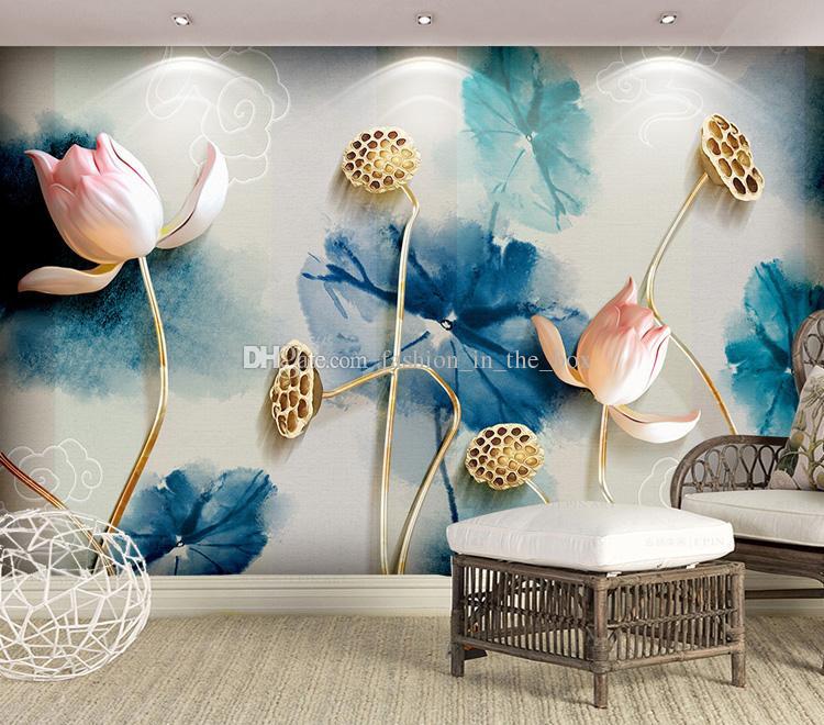 Chinese Style 3D Wallpaper Ink Painting Lotus Wall Mural Custom Photo  Wallpaper Bedroom Living Room Restaurant Hotel Modern Art Room Decor Oil  Painting ...