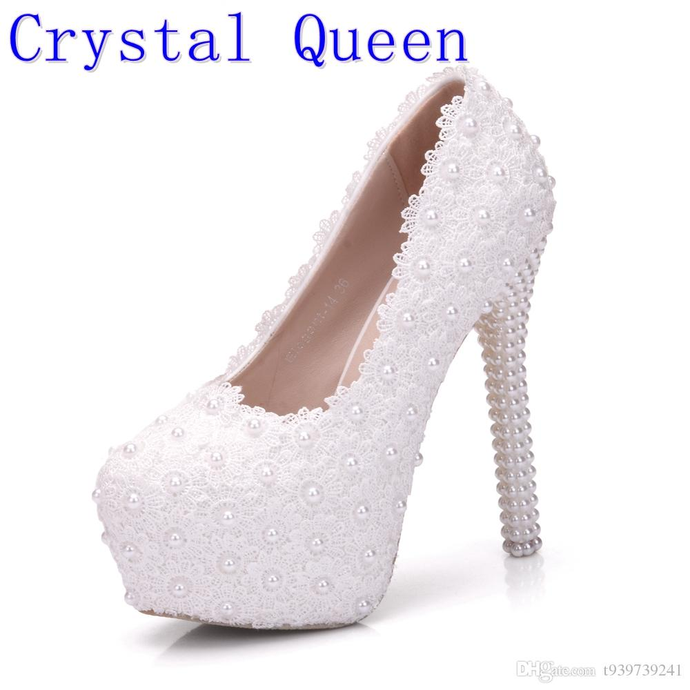 Crystal Queen White Wedding Pumps Sweet White Flower Lace Pearl