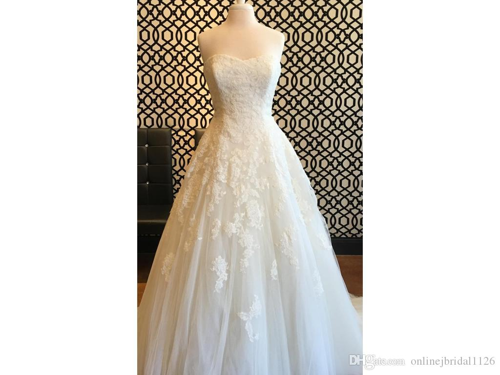 Beautiful Ball Gown Sweetheart A Line Tulle Lace Appliques Beaded Sash Comfortable Bridal Wedding Dress COR-574 Real Photos