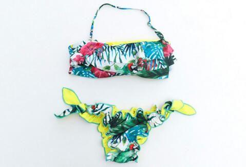 Nouveautés mode vente chaude feuille sexy de banane japonaise imprimer Triangle une pièce maillot de bain dame sexy maillot de bain élégant Bikini livraison gratuite