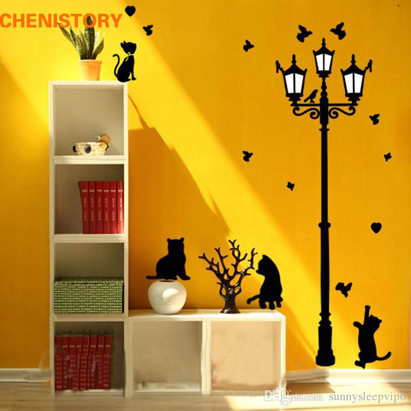 Diy Removable Naughty Cats Birds And Street Light Vinyl Decals Wall ...