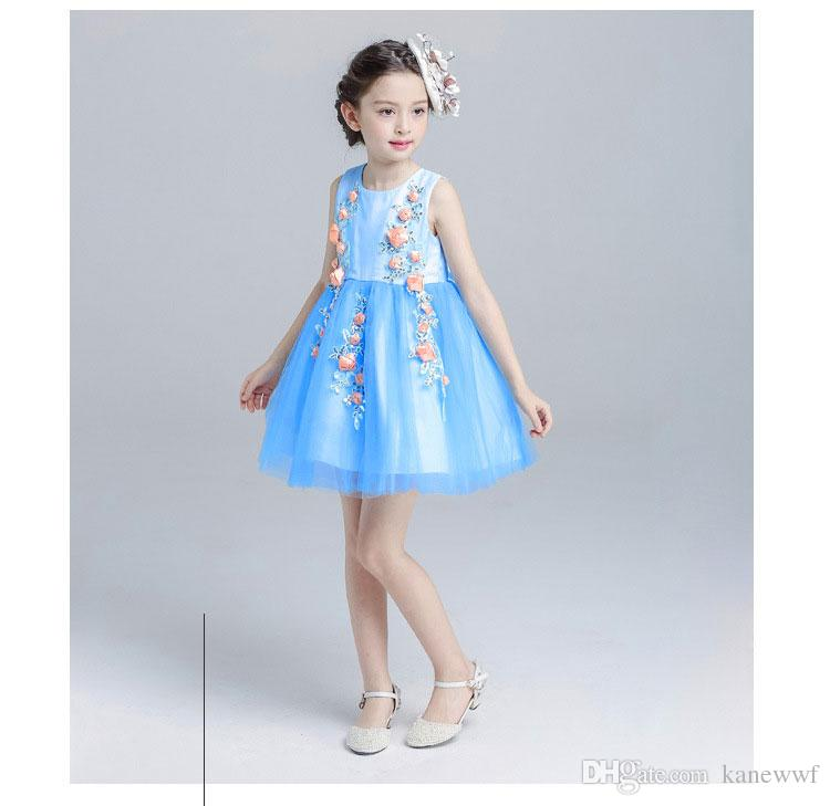 Estate 2017 New Princess Birthday Party Dress 4-12T Blue Color Flower Girls Dress abbigliamento bambini ragazze ragazze adolescenti