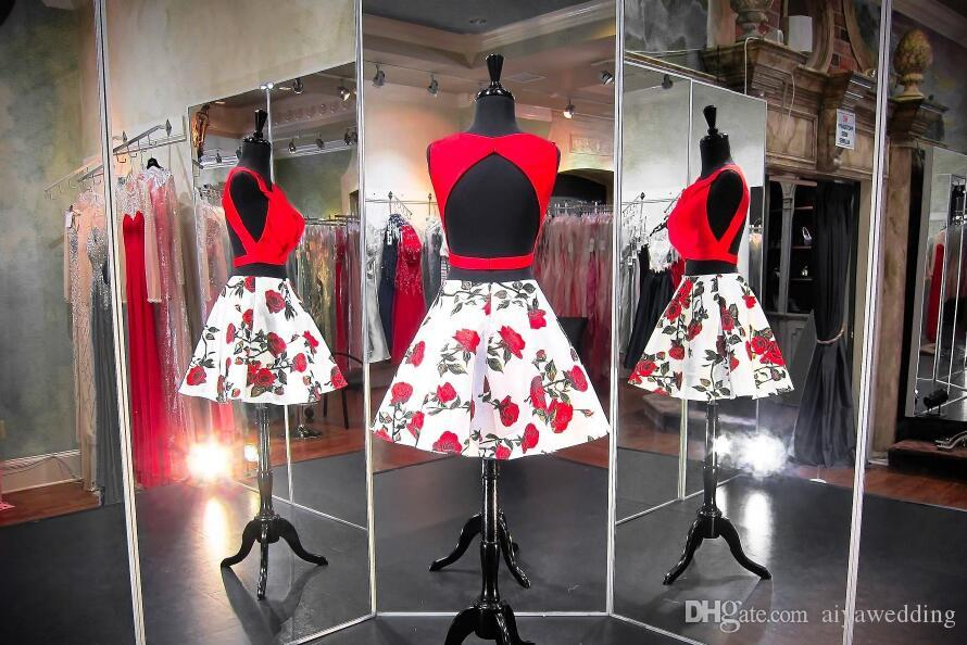 Red Rose Floral Printed Short Prom Dresses Two Pieces Knee Length Red Top with White Satin Knee Length Homecoming Party Gowns 2019 New