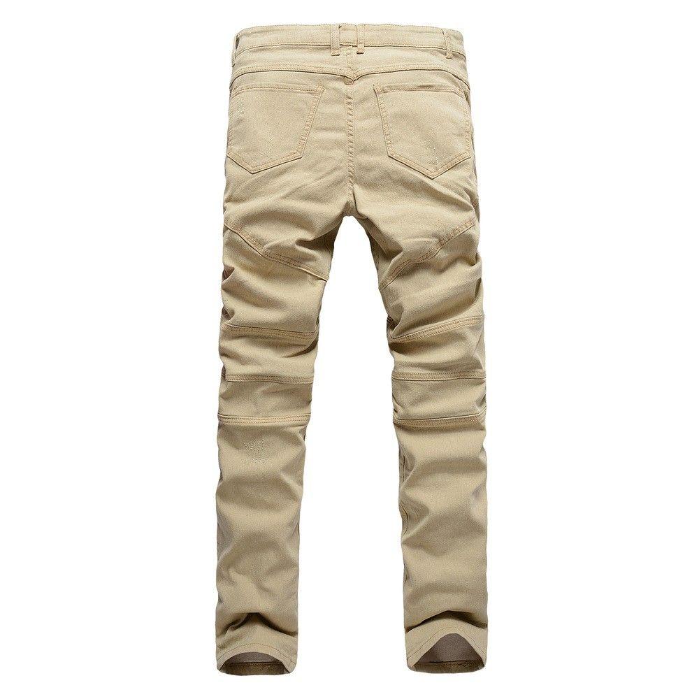 2017 New Arrival Khaki Biker Jeans Pleated Design Mens Skinny slim Stretch Denim pants Hip-Hop Street Destroyed Ripped Jeans 32-36
