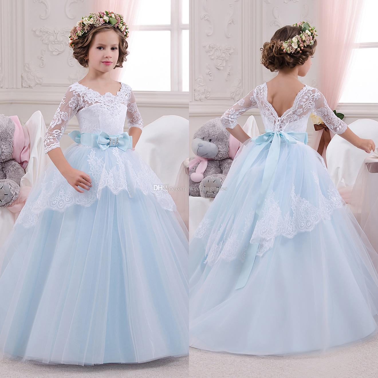 025f93c4b1a Compre 2019 Nuevo Vestido De Fiesta Vestidos De Niña De Las Flores Para La  Boda Princesa Light Blue Bow Tulle Beads Vestido De Primera Comunión  Vestidos De ...