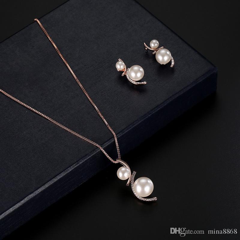 Позолоченные сплава смарт имитация Жемчужина цветок серьги кулон ожерелье набор костюм мода свадебные украшения набор для женщин