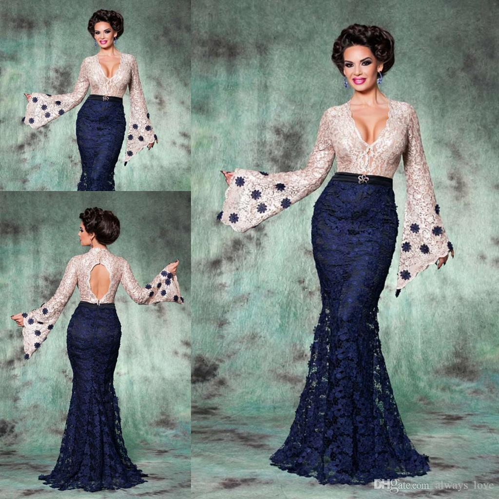 Navy Blue Long Sleeves Evening Dress High Quality Lace Arabic ...