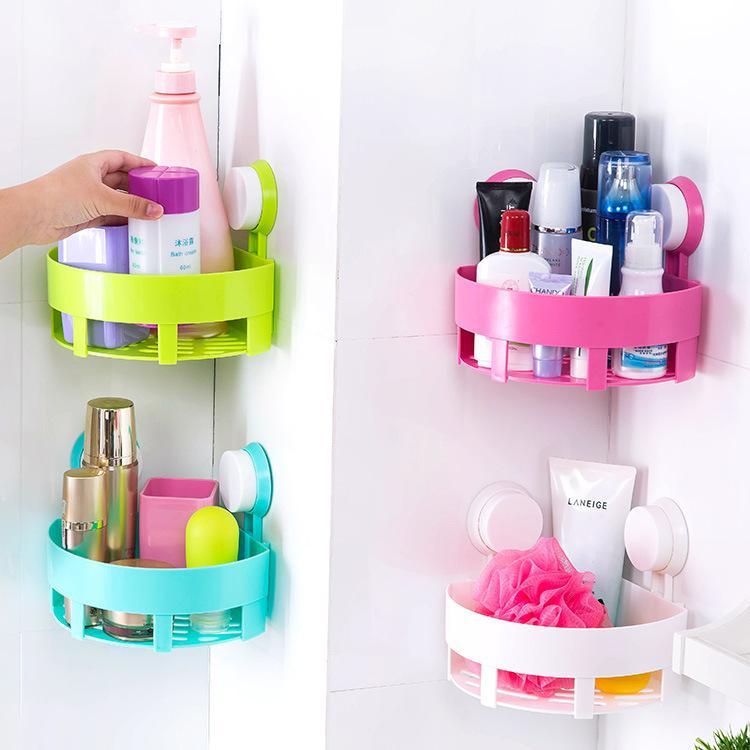 Wall Mounted Type Shower Room Corner Storage Rack Bathroom Sundries Shelf  Triangle Plastic Hanging Basket Bathroom Rack Sundries Shelf Basket Online  With ...