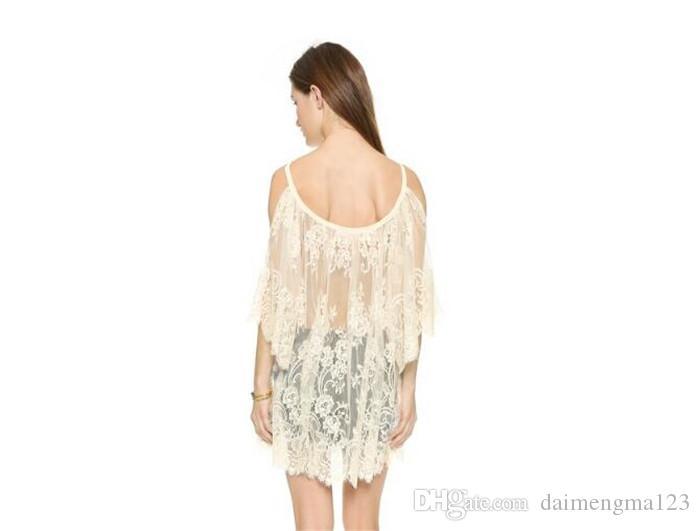 Летняя мода женщин сексуальный ремень Sheer цветочные кружева вышитые крючком пляж прикрыть платья BlackWhite M066