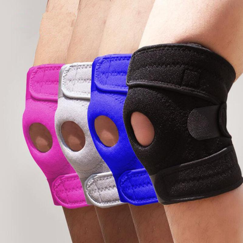 Soporte de la rodilla de baloncesto elástico ajustable Brace Kneepad Patella Knee Pads Senderismo Hole Sports Kneepad Safety Guard Strap para correr