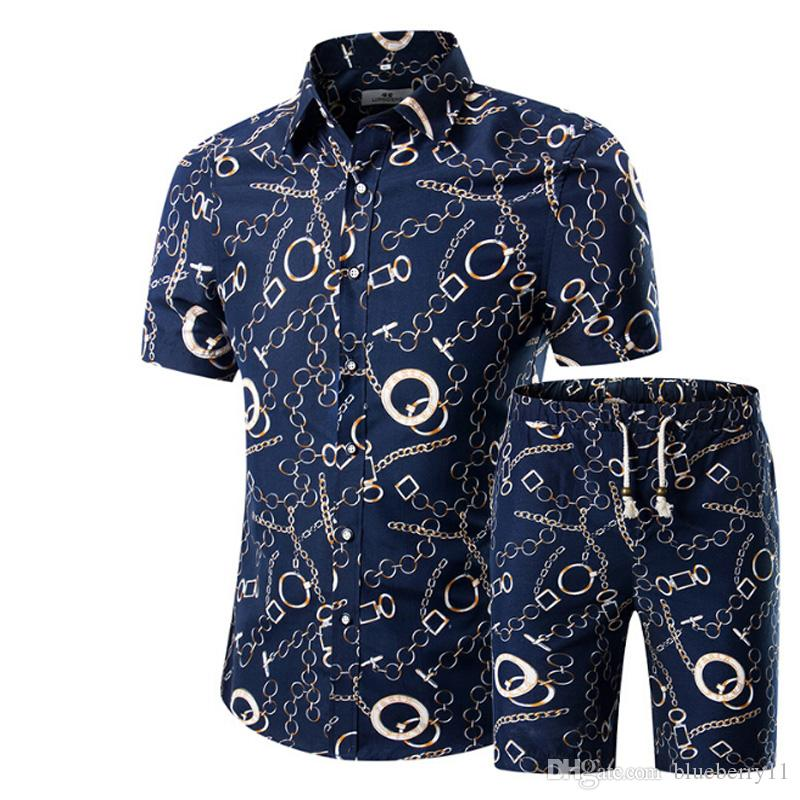 Hombres Camisas + Shorts Set Nuevo Verano Casual Impreso camisa hawaiana Homme Short Male Impresión Vestido Traje más el tamaño