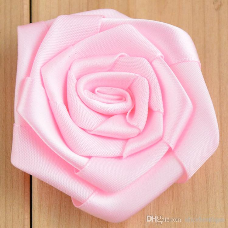 Multilayer Satin Rosettes Without Clip Shabby Frayed Rose Flowers Baby Girls Hair Accessories 6CM H085