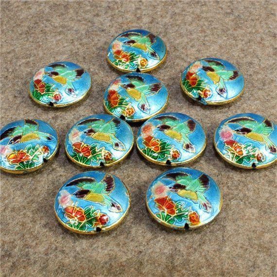 Colibríes Tallados Cloisonne Beads Filigrana Plata Azul Espaciador Perlas Sueltas Para DIY Joyería Pulsera Artesanías Encantos Cloisonne Beads