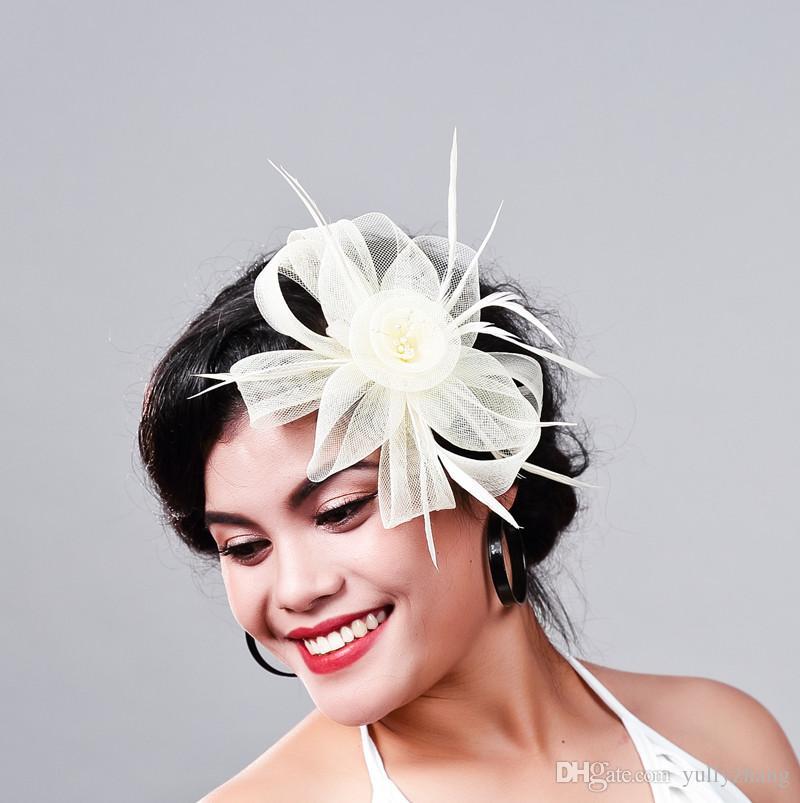 Ücretsiz kargo Kadınlar Fantezi Tüy Fascinator Şapka bej Düğün Şapka ve Fascinators Beyaz Net Saç Aksesuarları Gelin Kadın için MD16026