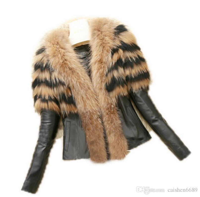 Европейский стиль большой размер женская одежда кожаная куртка Оптовая торговля розничная 2017 осень зима Новый имитация енота шубы мода куртки