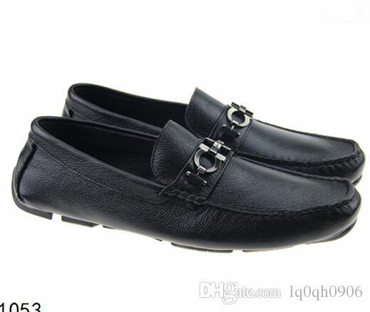 Yumuşak Deri erkek eğlence elbise ayakkabı parçası hediye doug ayakkabı Metal Toka Slip-on Ünlü marka adam tembel falts Loafer'lar Zapatos Hombre 40-46
