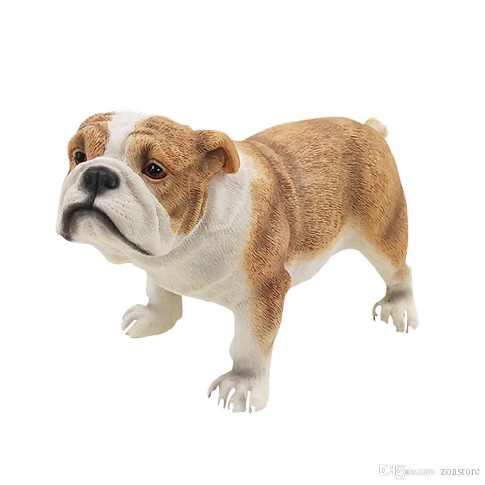 Bulldog تمثال الراتنج الكلب تمثال الحيوانات اليدوية التماثيل الديكور للمنزل والحدائق شاعرية الهدايا