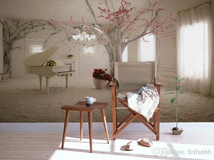 Piyano duvar kağıdı özel duvar dokunmamış 3d odası duvar kağıdı 3d romantik rüya piyano TV ayarı duvar ağacı fotoğraf kağıdı duvarlar için 3d