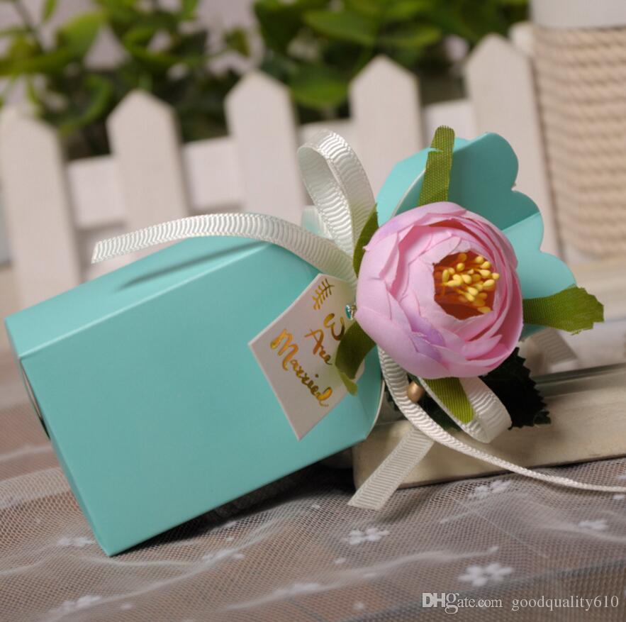 Tipo-2 scatole di cioccolatini della scatola di Candy del fiore di 12 * 5 * 5cm con il nastro il regalo di favore della doccia della festa nuziale
