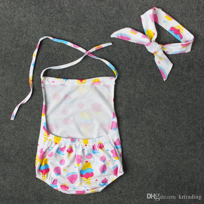 Baby girls cute ice cream halterneck Romer set bowknot headband+romper watermelon strawberry ice-cream cone pattern ins hot jumpsuit