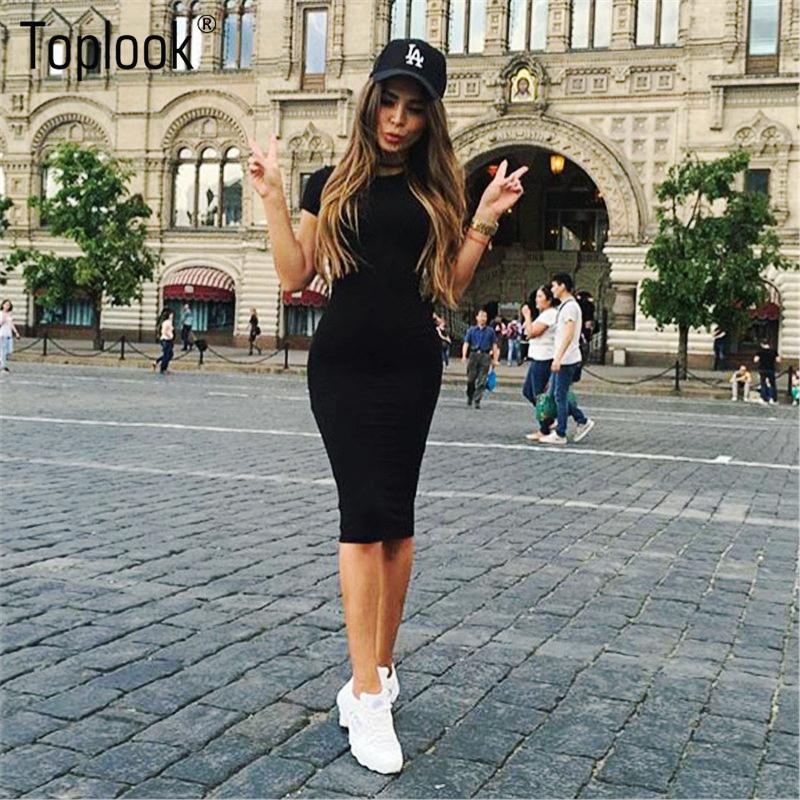 b31dc53c33b9c 2019 Wholesale Toplook Bodycon Women Dress Short Sleeve Robe Sexy Summer  Office Dresses Knee Length Bandage Midi Black Army Green Pencil Dress From  Cacy