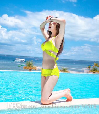 Push up bikini femme maillot de bain soutien-gorge ensemble maillot de bain femmes acier soutien Gather taille poitrine plage couverture maillot de bain body