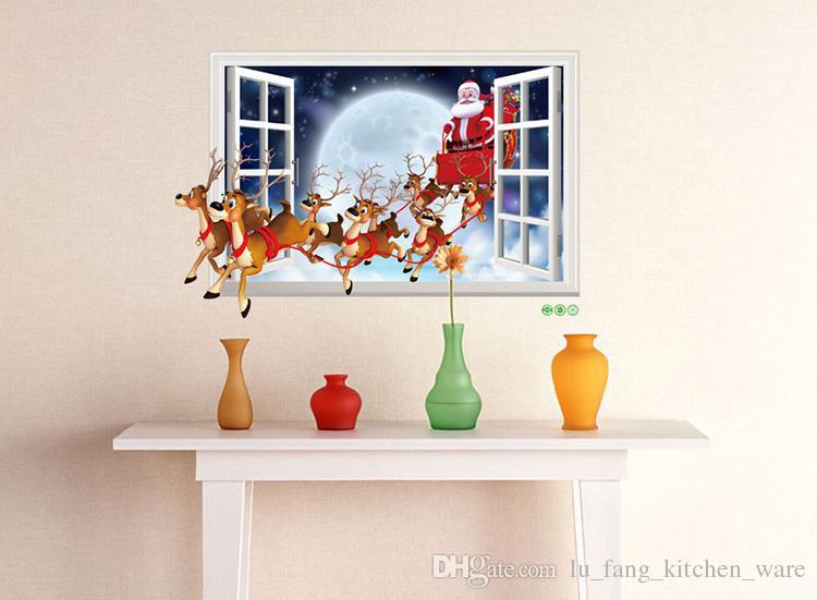 Decoraciones de navidad pegatinas de pared de la pared de Santa Claus hacer imitación efectos 3D ventana falsa etiqueta de la pared diy fiesta de navidad regalo al por mayor