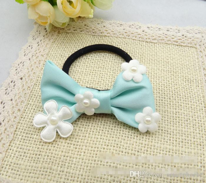 Wholesale Korean Style Cute Solid Floral Hair Bow Girls Elastic Hair Bands Fashion Bowknot Rope Gum Rubber Band Hair Accessories