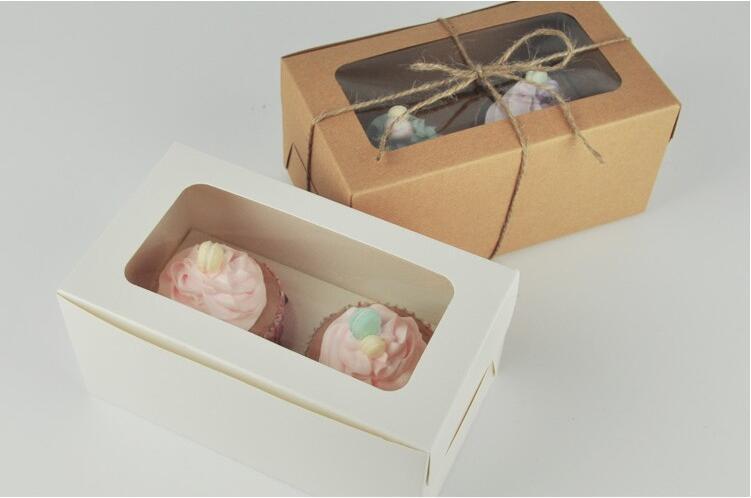 كرافت ورقة بطاقة كب كيك مربع 2 أصحاب كعكة الكعك كعكة صناديق الحلوى المحمولة حزمة مربع علبة هدية صالح