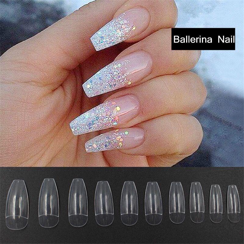 500 UNIDS Bailarina Media Nail Tips Natural / Claro Ataúd Uñas Falsas ABS Artificial DIY Falso Fake UV Gel Nail Art Tips