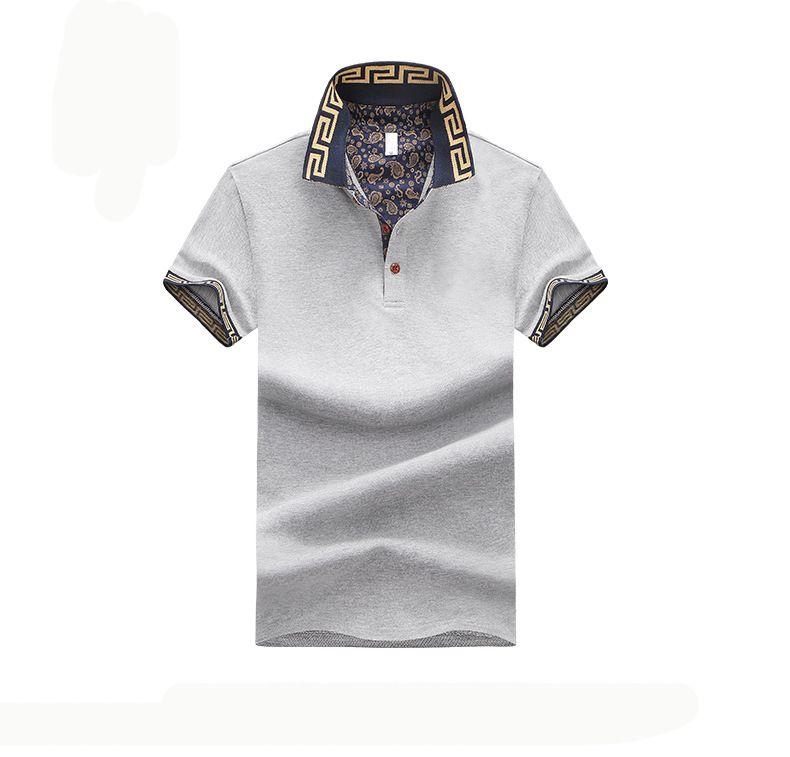 Camisa polo para hombre Marca Plus Size M-5XL Camisa polo de algodón Hombres Slim Fit Ropa de marca Polo negro sólido