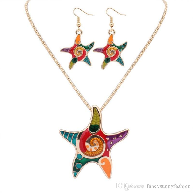 starfish jewellery set dangle necklace earring set chandelier hook fashion earring and necklace for women colorful starfish drop silver gold