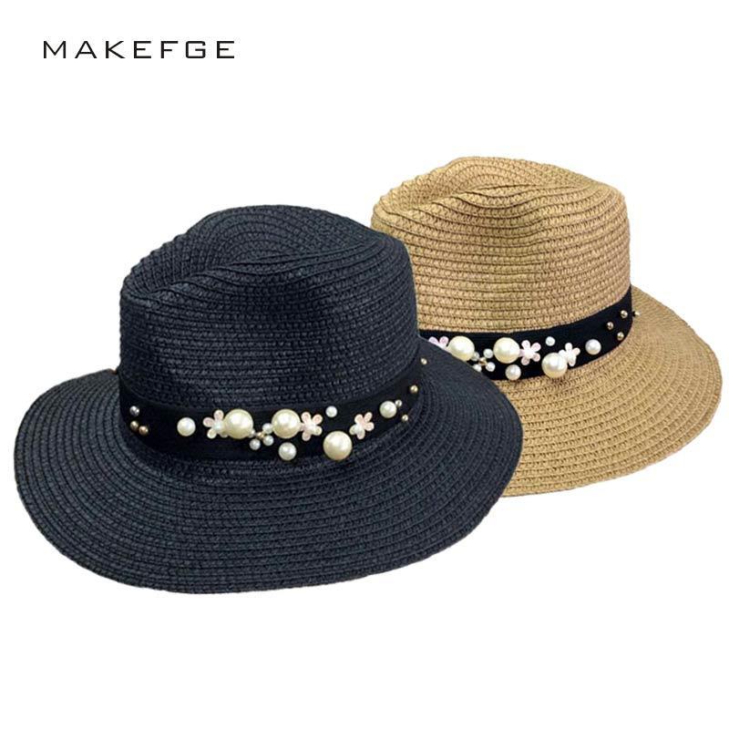 63be931f6b408 Wholesale 2017 New Spring Summer Hats For Women Flower Beads Wide Brimmed  Jazz Panama Hat Chapeu Feminino Sun Visor Beach Hat Stetson Hats Cowboy Hats  From ...