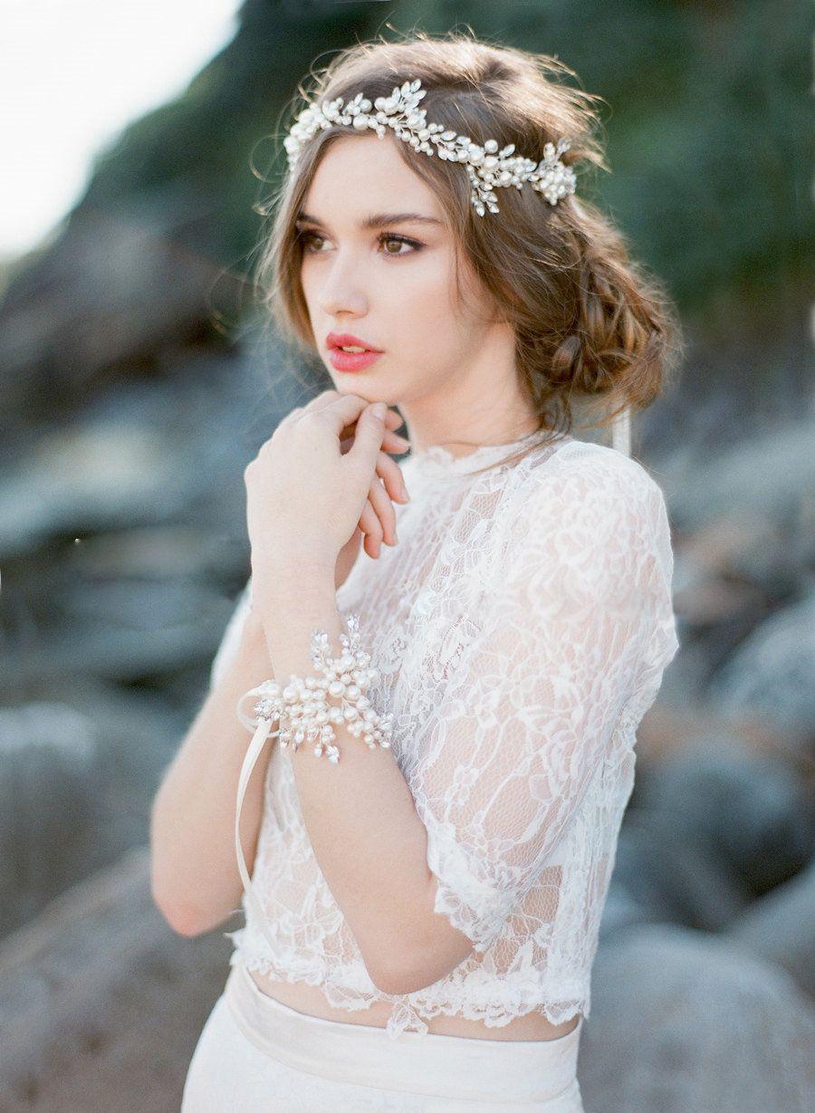 Boho Bridal Halo Copricapo Rinetones Matrimonio Parrucchiere Cablato a mano Cristallo Perla Foglia Capelli Tiara Corona Accessori capelli da sposa