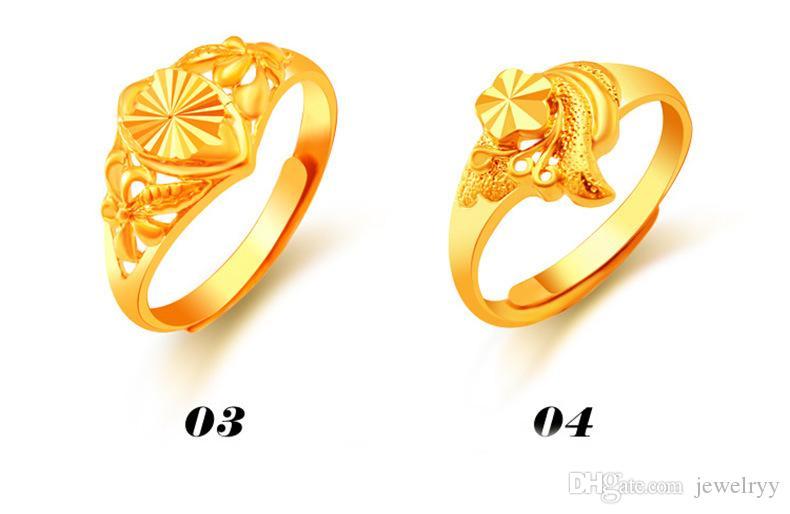 Lusso 24K oro placcato anello gioielli da sposa scolpita taglia floreale floreale anelli le donne signora regolabile anello di cluster 12 stili
