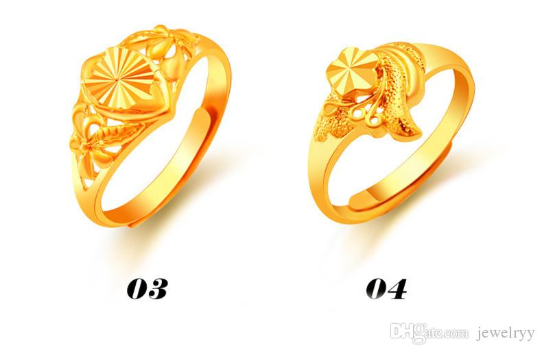 Luxury 24K Gold Plated Ring Bridal Jewelry Carve Hollow Floral Wedding Rings for Women Lady Adjustable Cluster Ring 12 styles