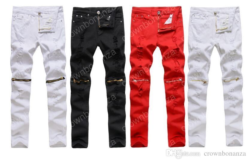 Wholesale-New Mens White Zerrissene Jeans 100% Baumwolle Distressed Skinny Jeans Ausdünnung Cargo Reißverschluss über Knie Hip-Hop-Männer Hosen Jeans