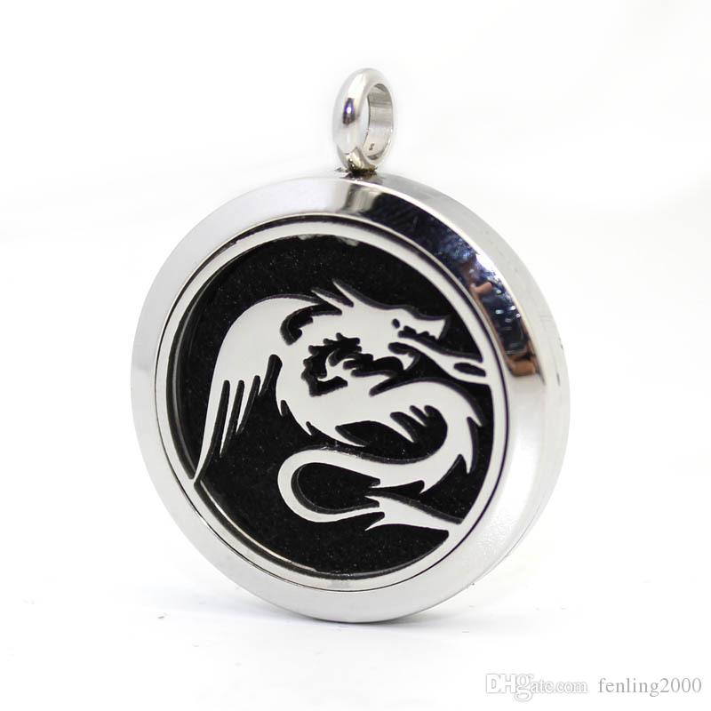 Dragon Necklace Aromatherapy Essential Oil surgical Stainless Steel Perfume Diffuser Locket Necklace with chain and felt pads