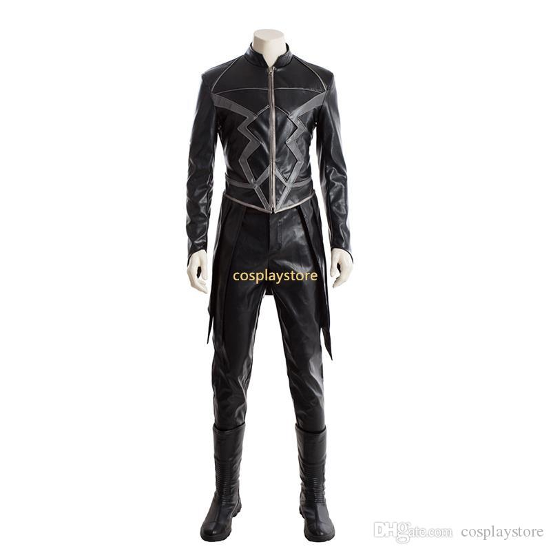 inhumans black bolt cosplay costume superhero blackagar boltagon outfit halloween clothes black leather suit boots adult men vampire halloween costumes male - Clothes Halloween