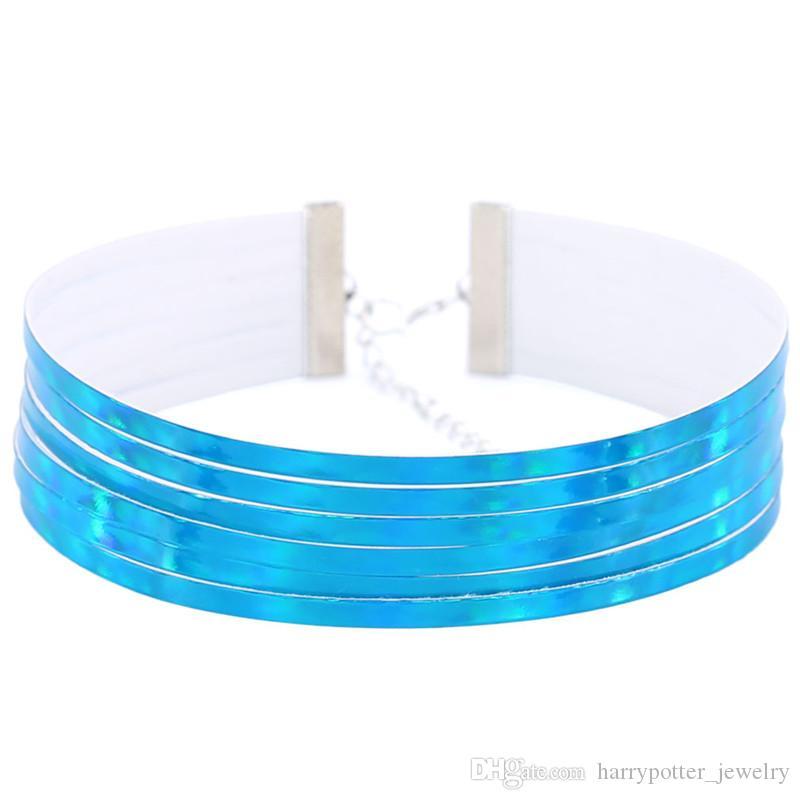 Declaración de venta caliente capas múltiples de cuero de la PU choker collares mujeres holográfica choker laser collares regalo de la fiesta de la gota nave 162217
