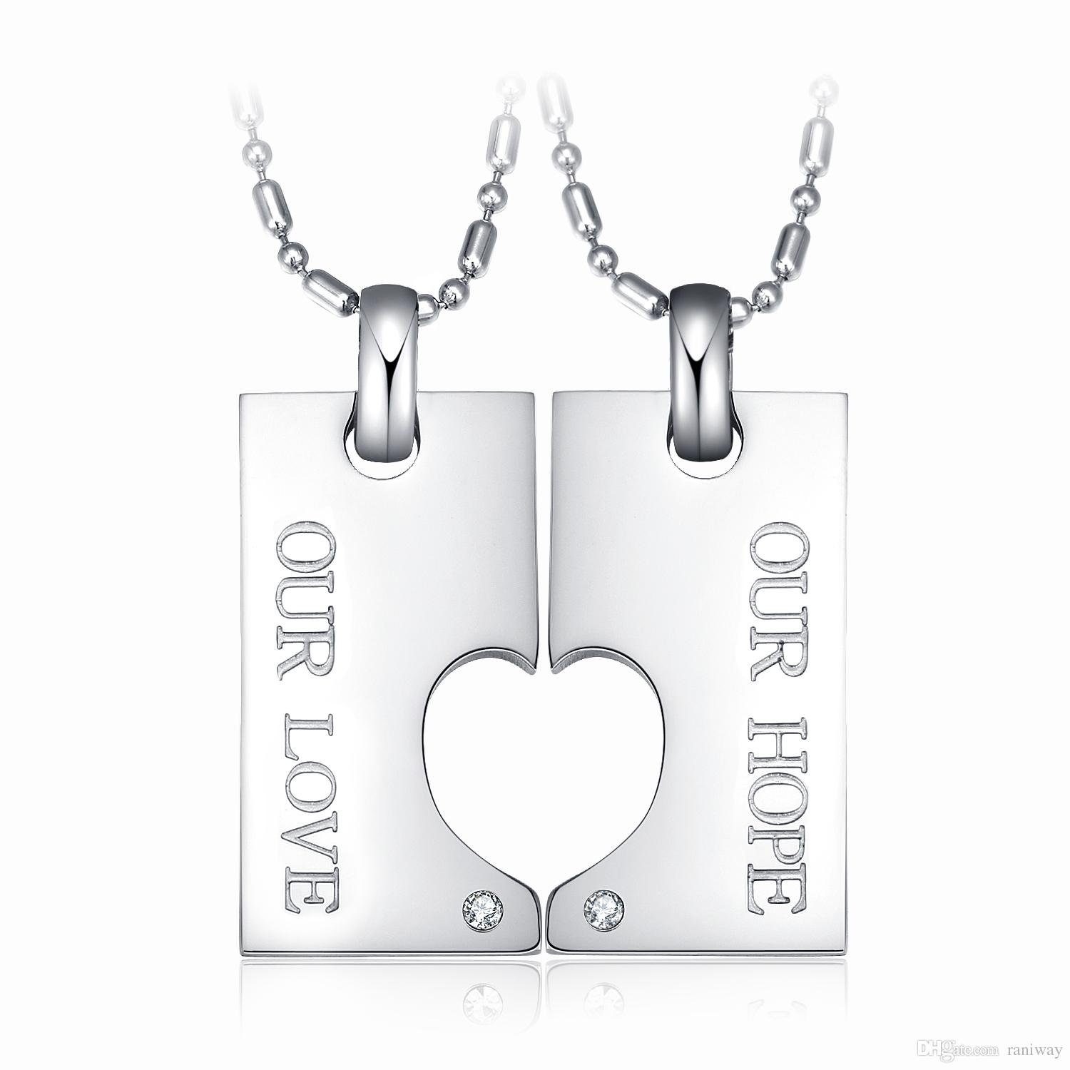 eb838c11f6 2Pcs His and Hers Stainless Steel Puzzle Jigsaw Matching Couples Promise  Pendant Necklace Set Valentines Gift