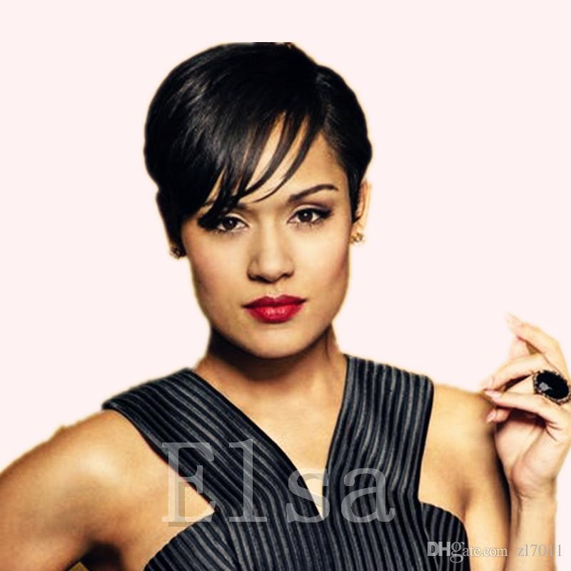 Rihanna Short Hair Wigs Natural Straight Brazilian Pixie Human Hair