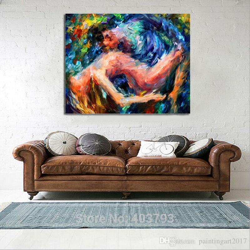 Gli amanti nude Sexy wall art Dipinto ad olio dipinto a mano Donne nude immagini astratte su tela arte regali di natale decorazioni la casa