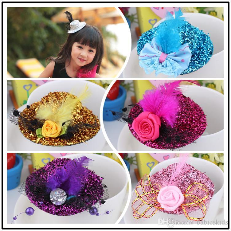 Fashion Hair Jewelry Children Girl Mini Hat Clip Feather Rose Top Cap Lace Fascinator Costume Accessory The Bride Headdress Plumed Wedding Flower
