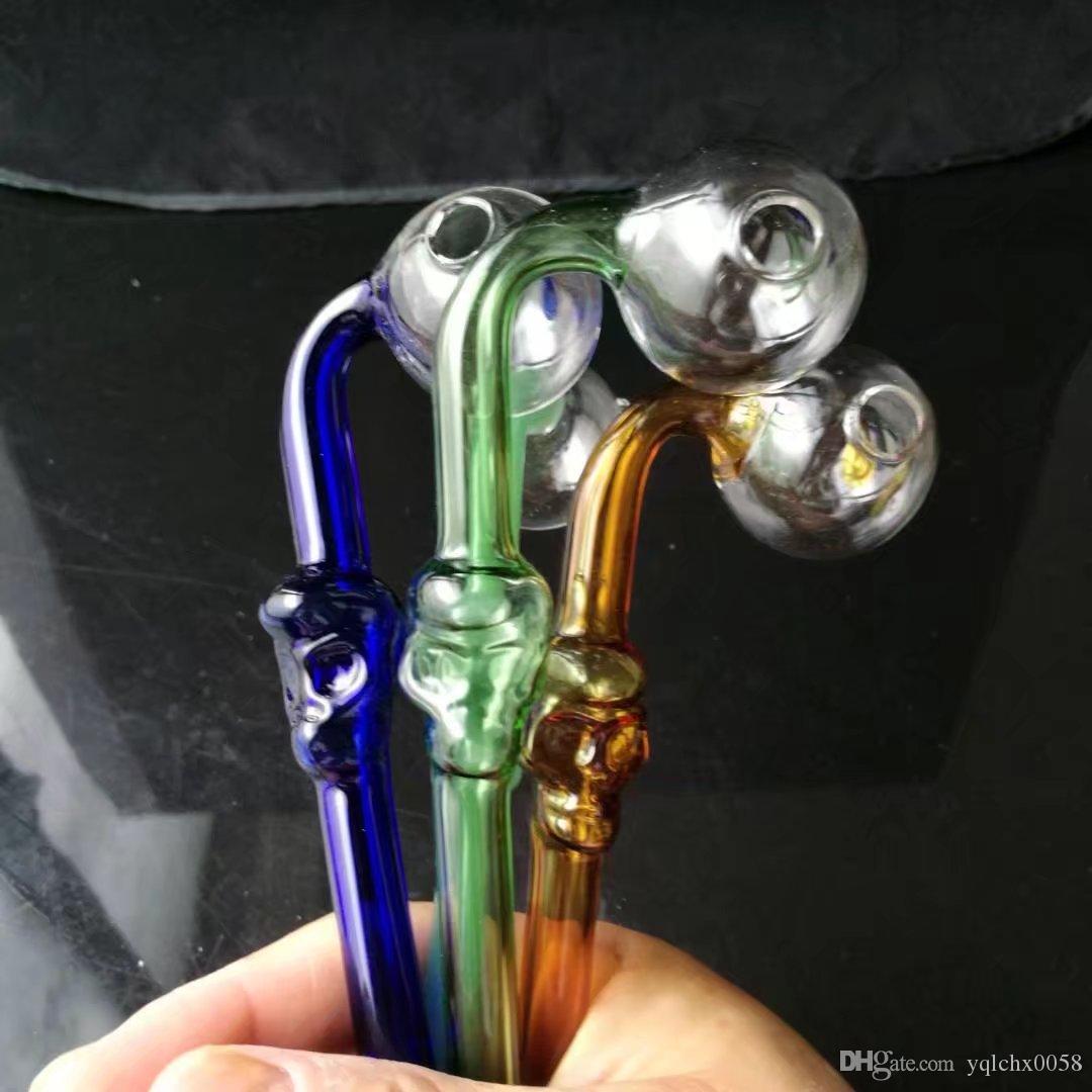 Nuevos huesos del color curvado olla, Bongs de cristal al por mayor, pipas de agua de cristal del quemador de aceite, accesorios del tubo de humo