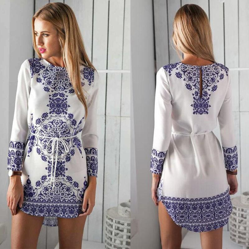 Fashion Printing Dresses Women Casual Shirt Dress Summer Vintage White Blue  Porcelain Print Long Sleeve Beach Mini Dress Black Dresses Women Party  Dresses ... 8882cf4e1
