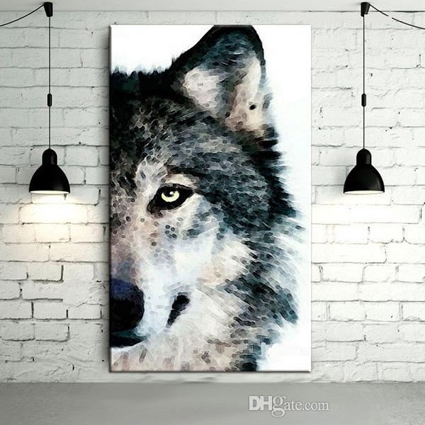 Wolf Wall Art 2017 gray wolf,pure hand painted modern abstract wolf head wall