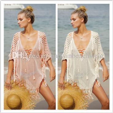 d4003f77647 2019 Bikini Beach Cover Ups Women Bohemian Dresses Vacation Blouses Tassel  Light Pink Bandage Swimwear Swimsuit Seaside Loose Sunscreen Shirts From ...